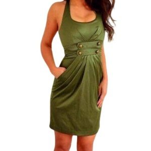 Green Army Satin Cocktail Halter Dress